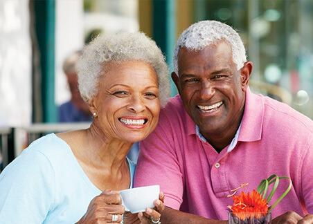 senior couple having coffee