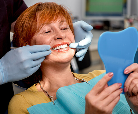 Woman during dental exam