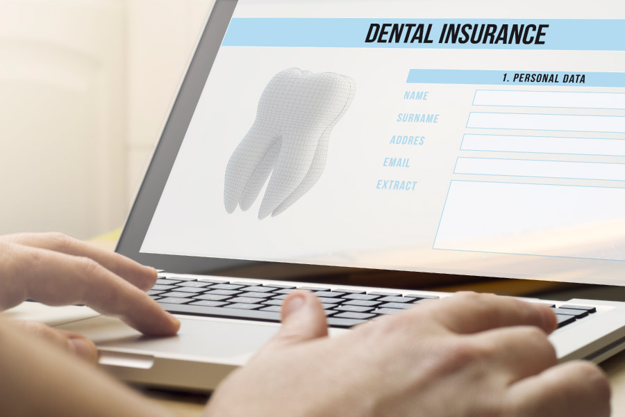 Photo of a personal computer screen with information about the patient's dental insurance benefits.